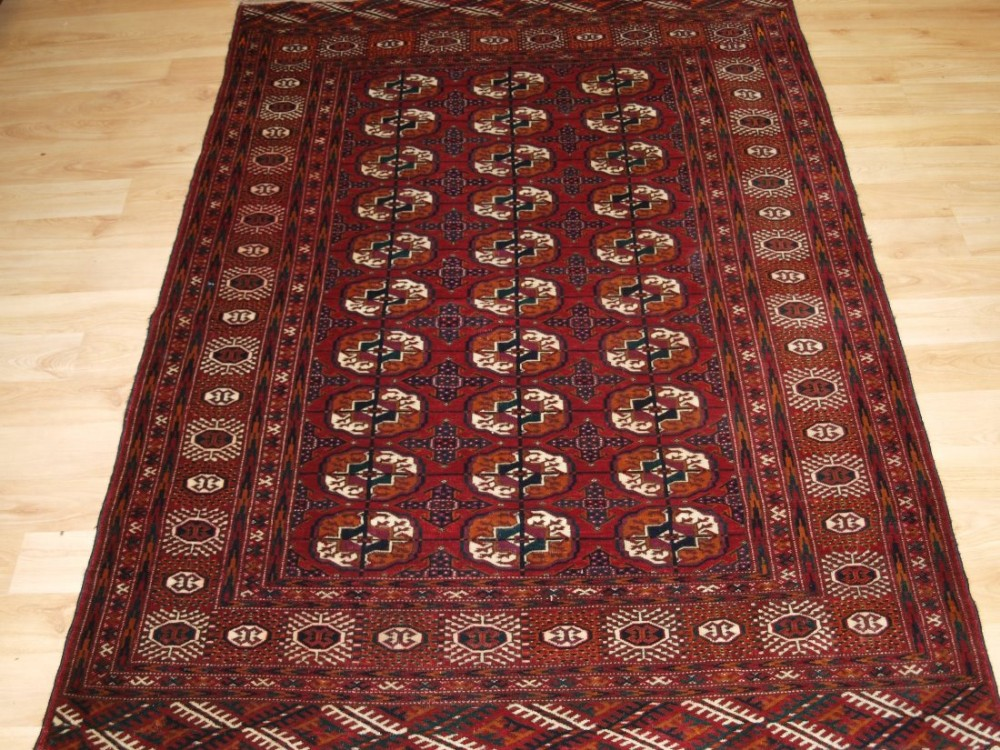 antique tekke turkmen 'dip khali' rug deep red colour great condition circa 190020