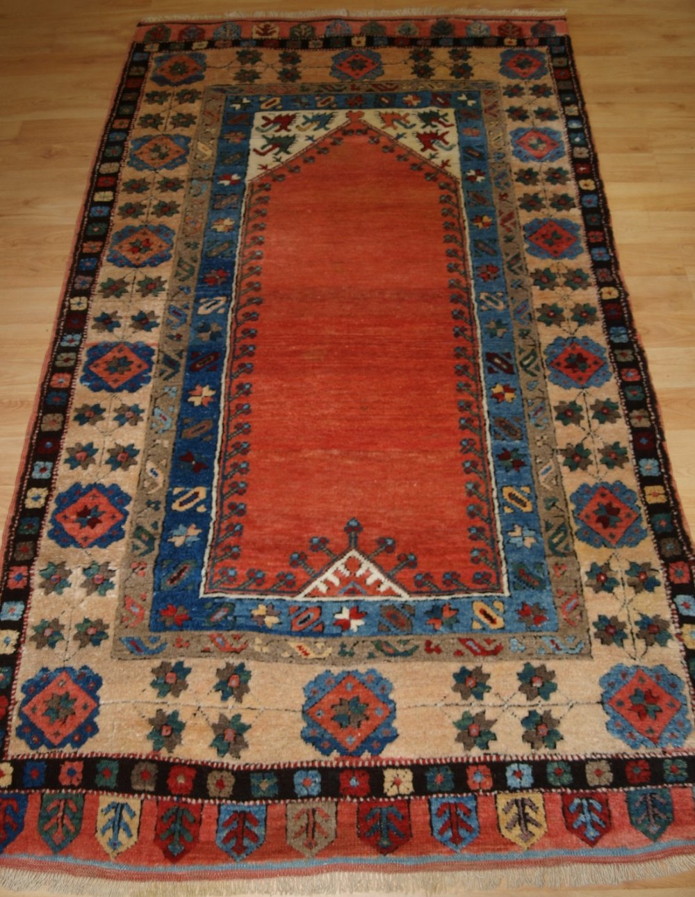 old turkish konya region prayer rug superb wool natural dyes circa 192030