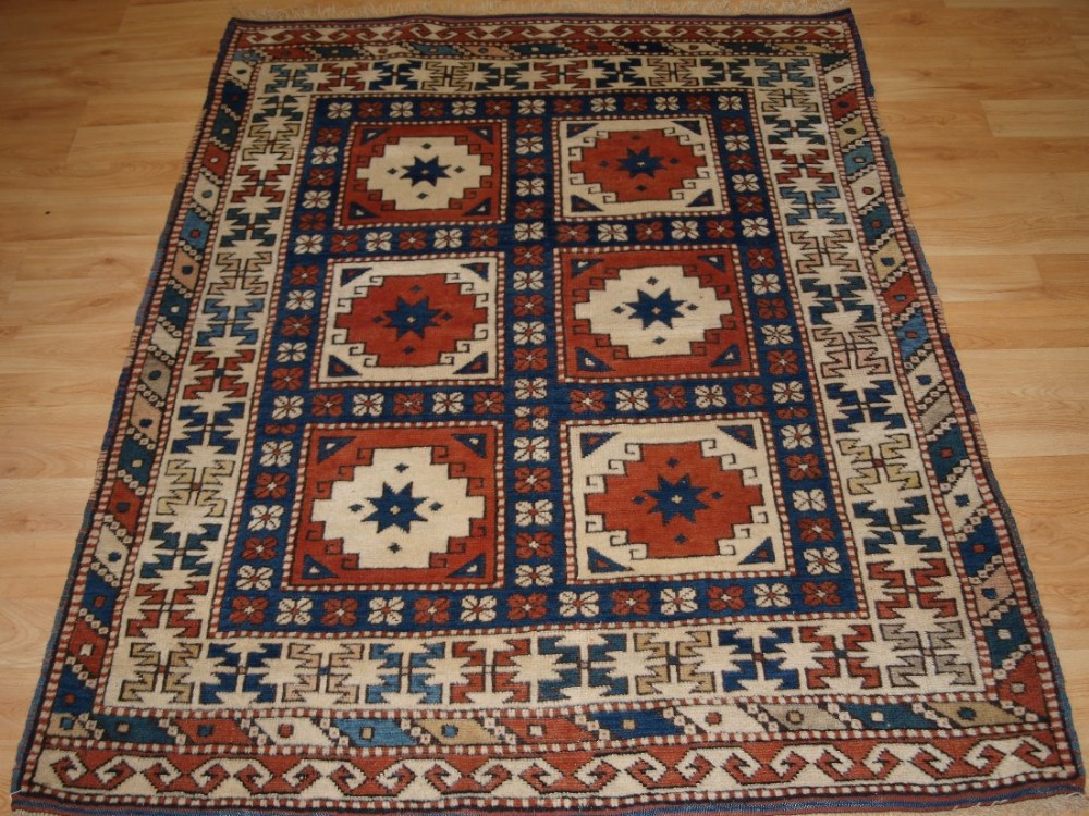 old turkish bergama rug of small size compartment design circa 192030