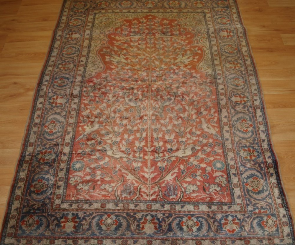 old turkish kayseri 'art silk' rug tree of life prayer design circa 1920