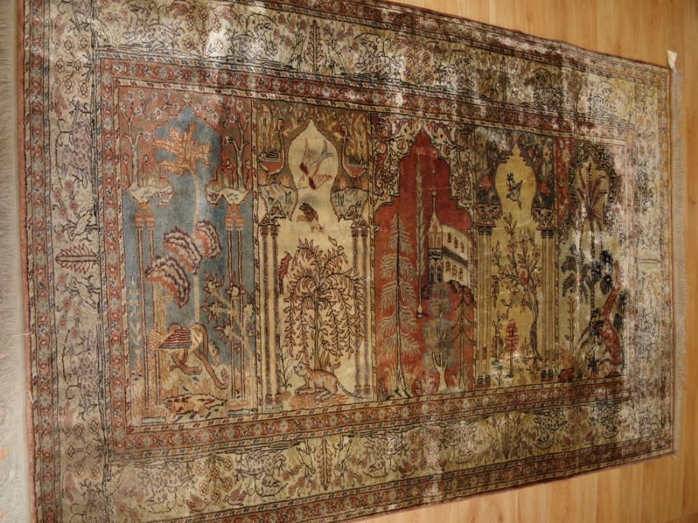 old turkish kayseri 'art silk' rug prayer saf design birds animals circa 1920
