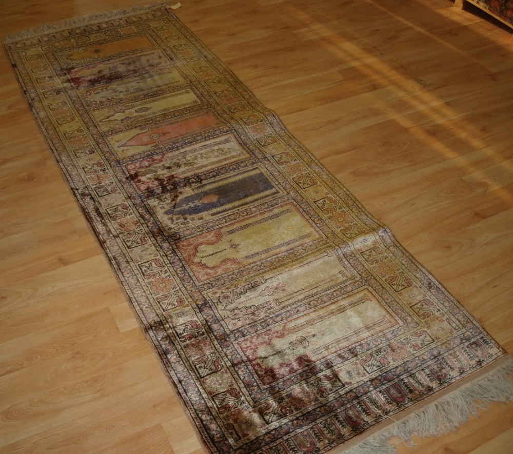 old turkish kayseri 'art silk' rug prayer saf design runner circa 1920