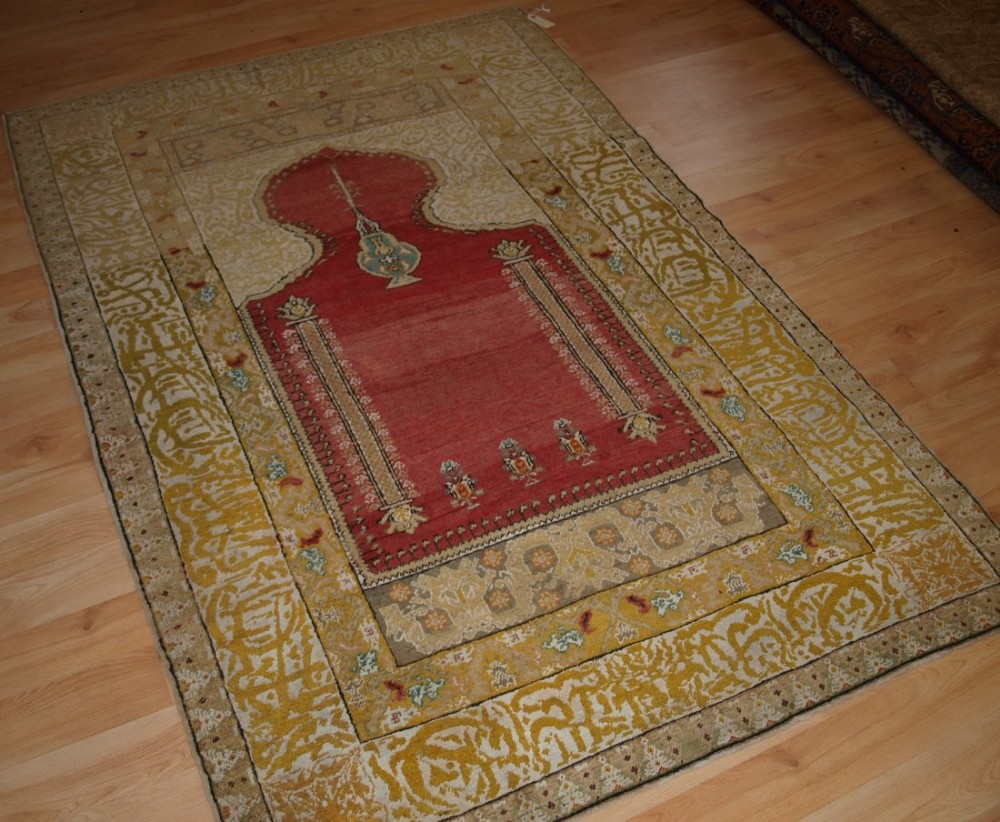 antique turkish ghiordes prayer rug superb border design circa 190020