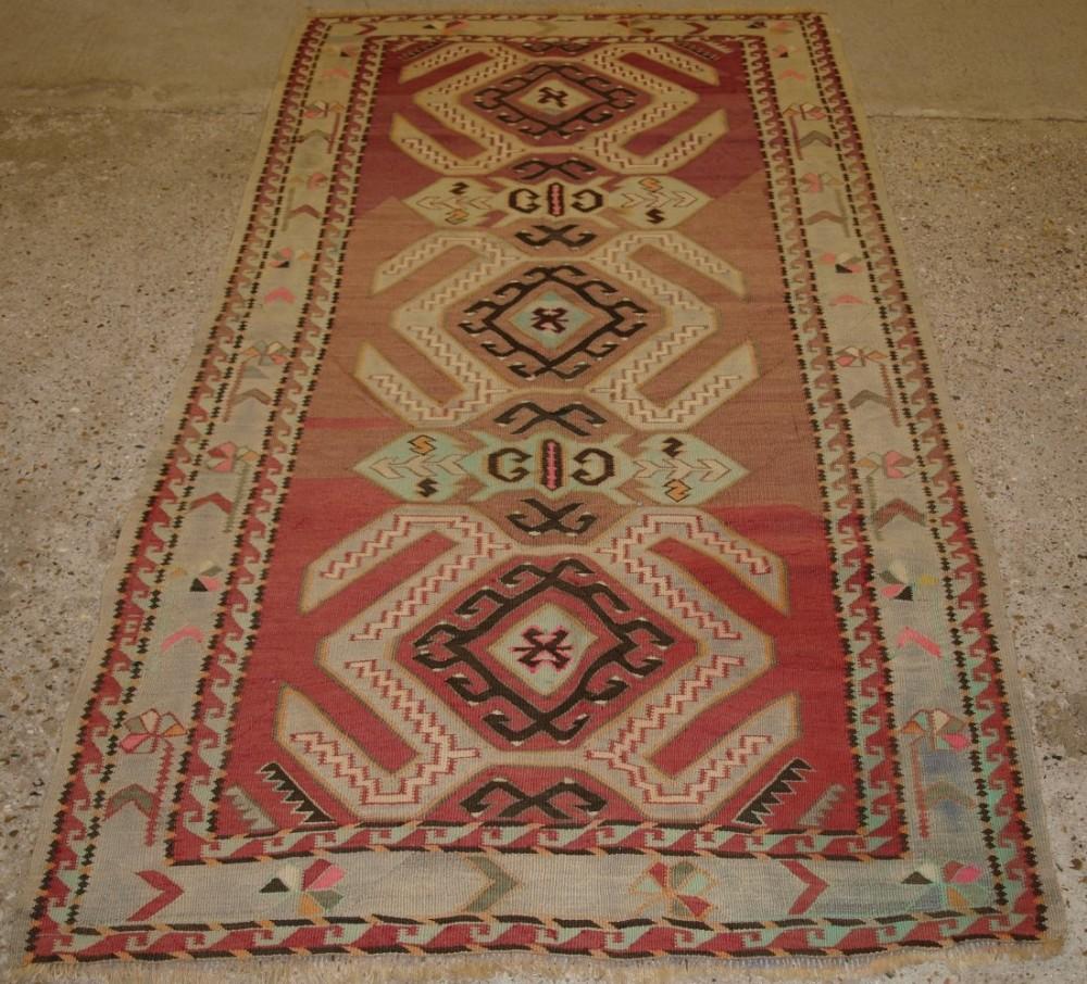 Caucasian Kilim Rug: Old Caucasian Kilim Rug, Classic Lenkoran Village Design