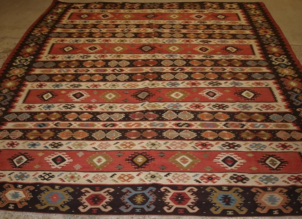 old turkish sarkoy kilim rug superb banded design excellent colours circa 1920