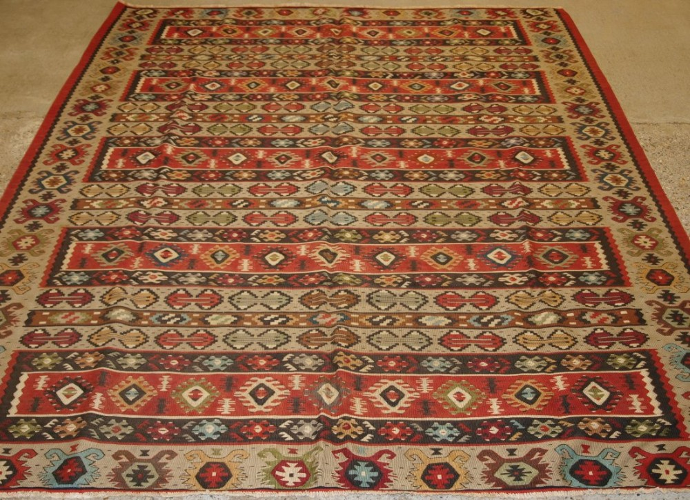 old turkish sarkoy kilim rug traditional banded design soft colours circa 1920