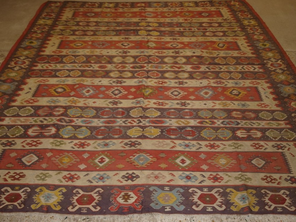 old turkish sarkoy kilim rug traditional banded design very soft colours circa 1920