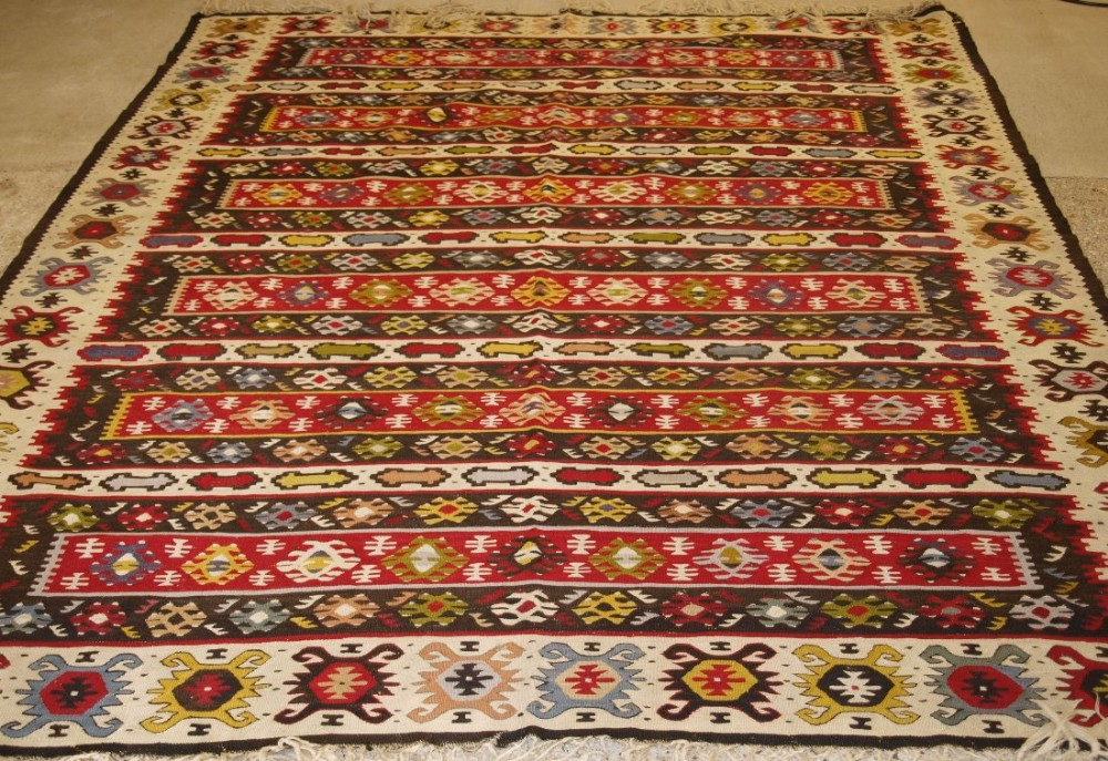 old turkish sarkoy kilim rug traditional banded design bold clear colours circa 1920