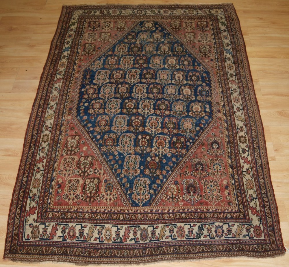 antique qashqai kashkuli rug boteh design on indigo blue ground circa 1890