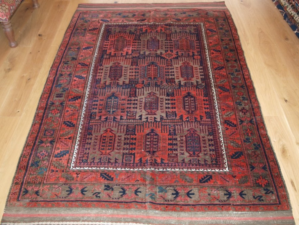 antique timuri baluch main carpet classic design corroded browns circa 1900