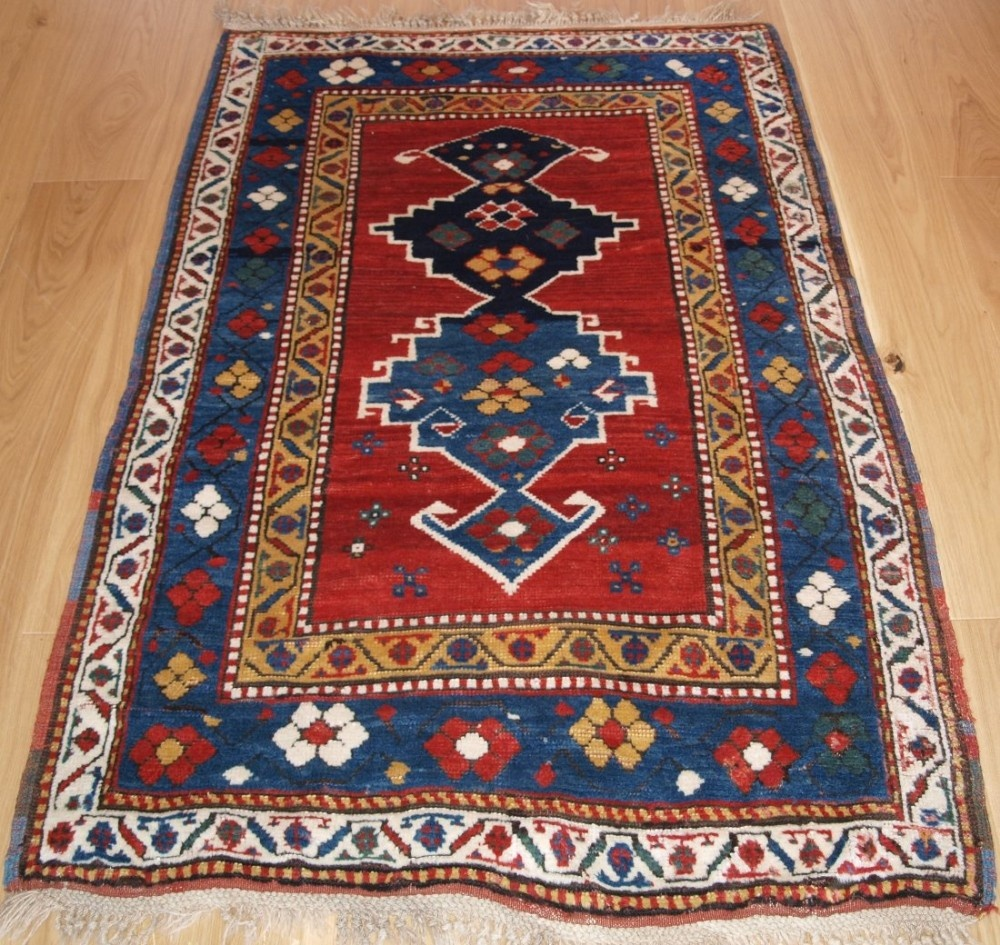 Caucasian Rugs Uk: Antique Caucasian Kazak Rug With Superb Colour And Long