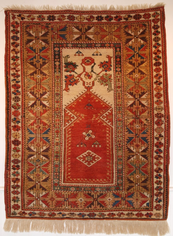 antique turkish milas prayer rug of classic design small size 2nd half 19th century