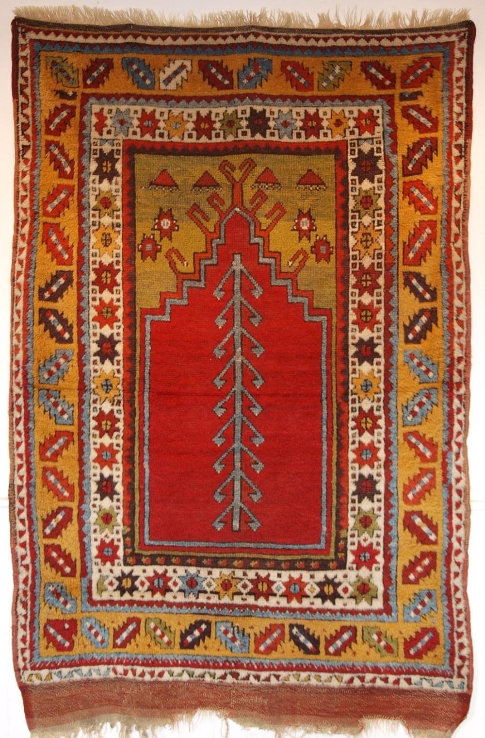 antique turkish konya region prayer rug superb colours 2nd half 19th century