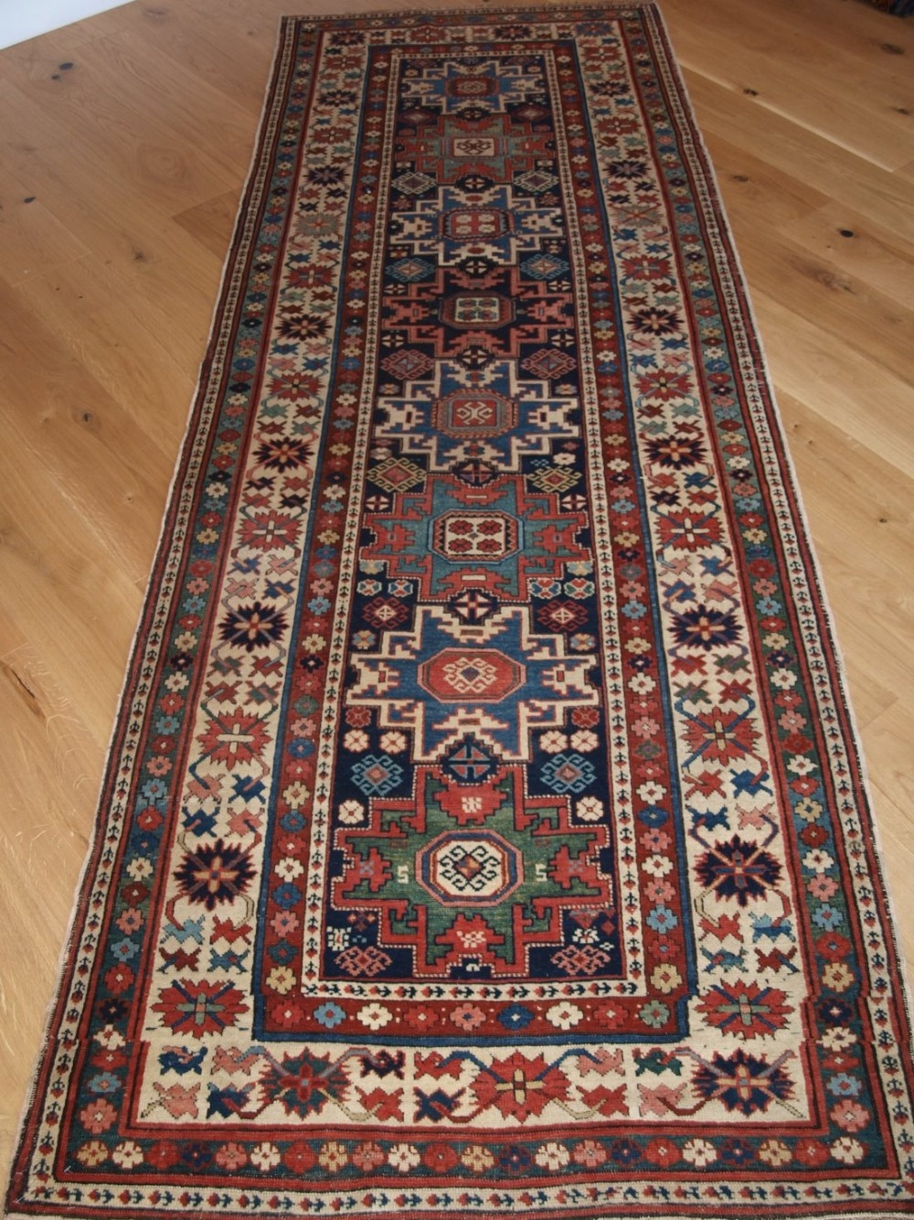 antique caucasian shirvan runner with lesghi star design fine weave superb colours circa 1880