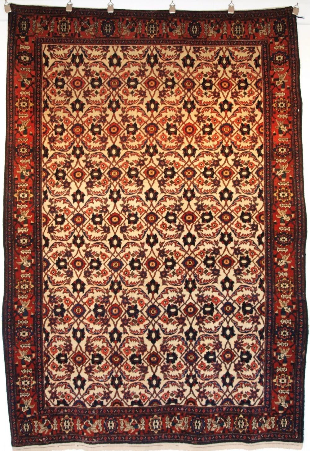antique senneh rug ivory ground with herati design full pile circa 1900