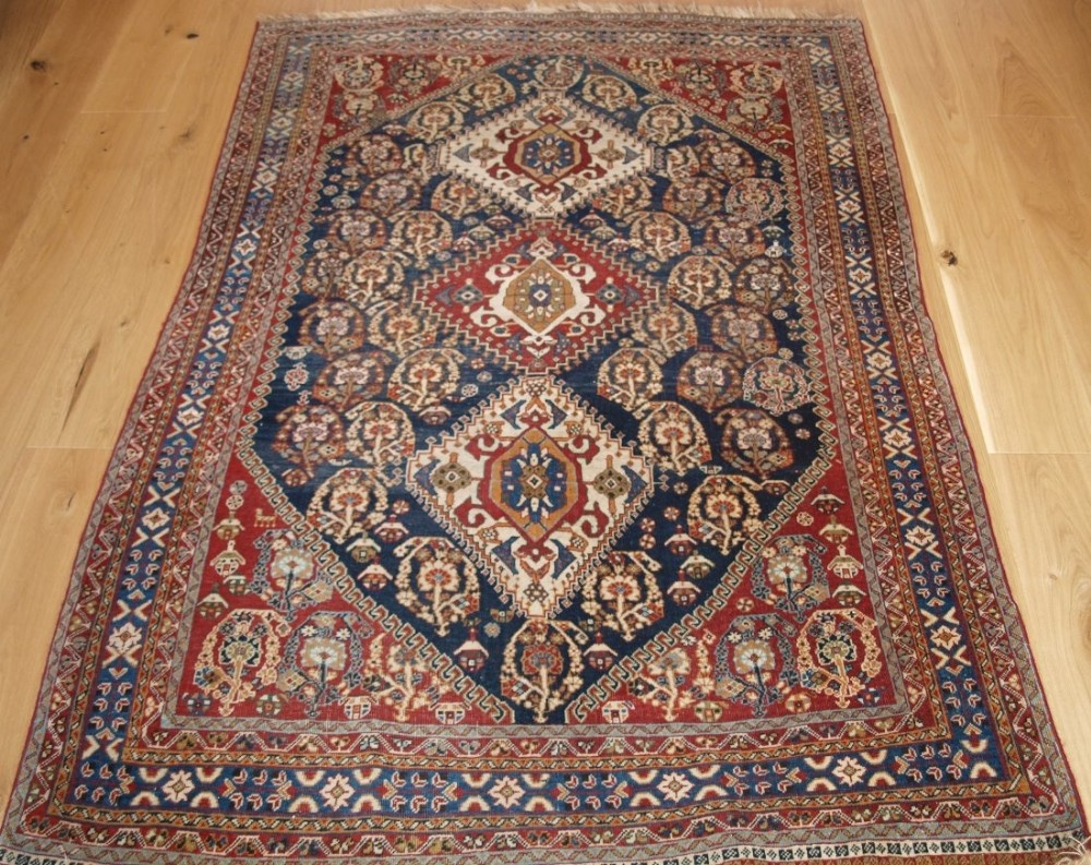 antique south west persian tribal qashqai rug trible medallion design circa 1900