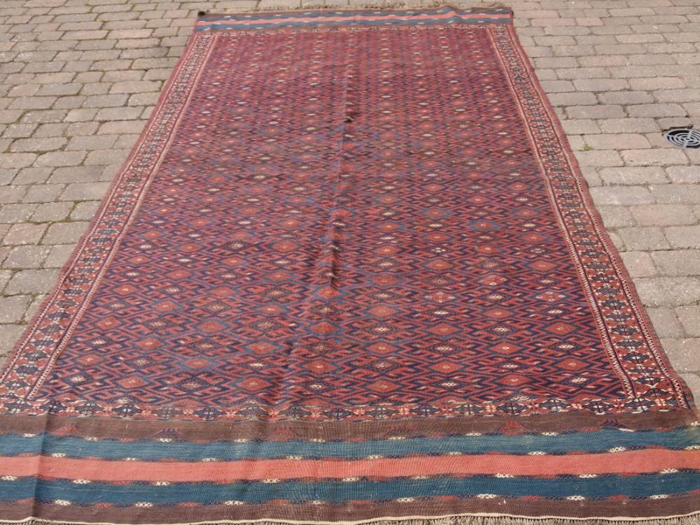antique yomut turkmen pallas soumak kilim good condition unusual long kilim ends circa 190020