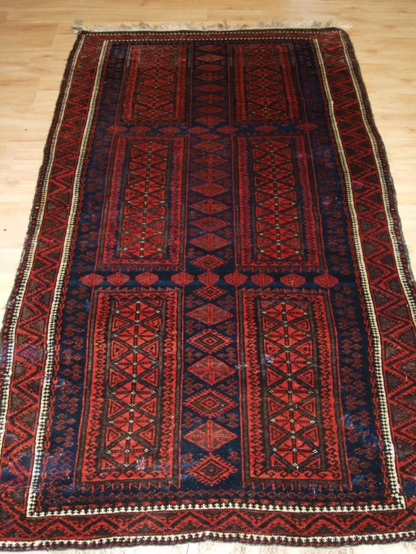 antique afghan baluch rug with timuri design circa 1900