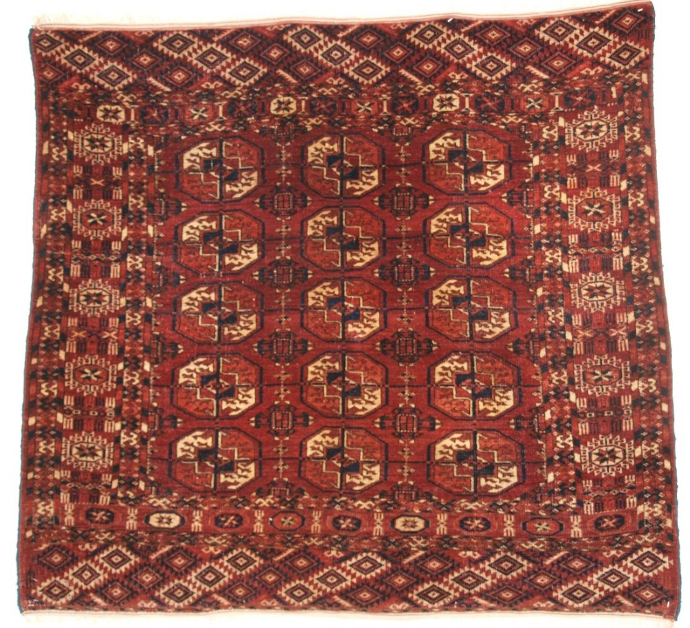 antique tekke turkmen rug small size with superb colour velvet like feel circa 1900