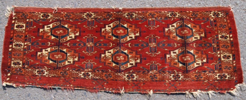 antique tekke turkmen 6 gul torba velvet like handle very fine circa 1850 or earlier