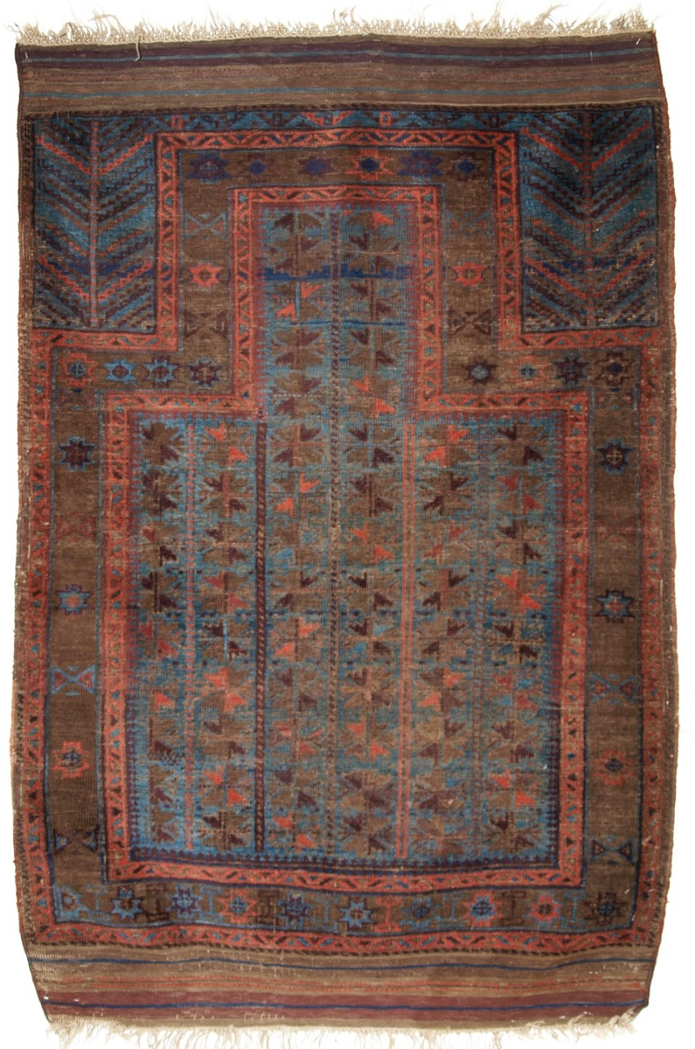 antique baluch blue ground prayer rug mid 19th century