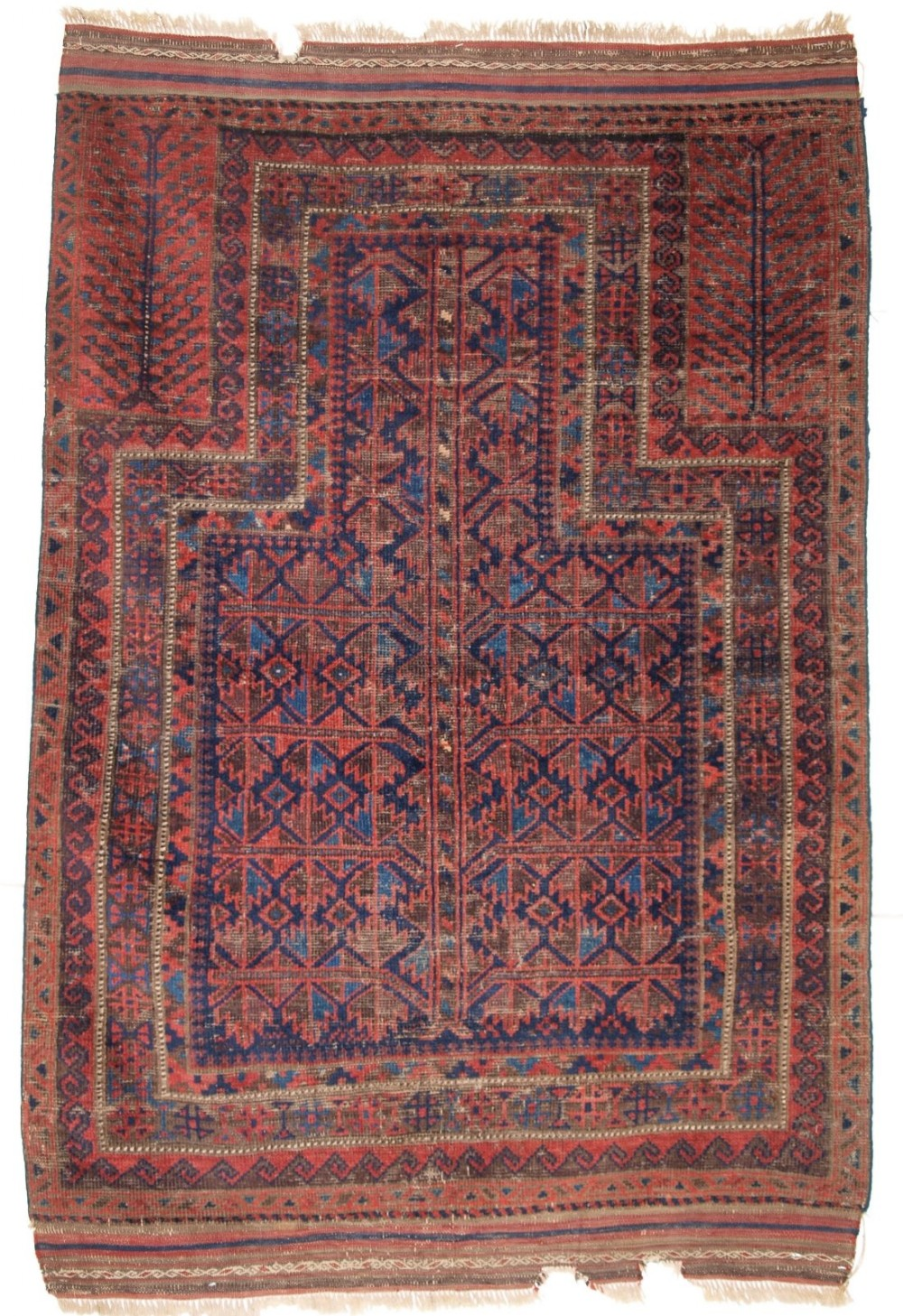 antique blue ground timuri baluch prayer rug mid 19th century