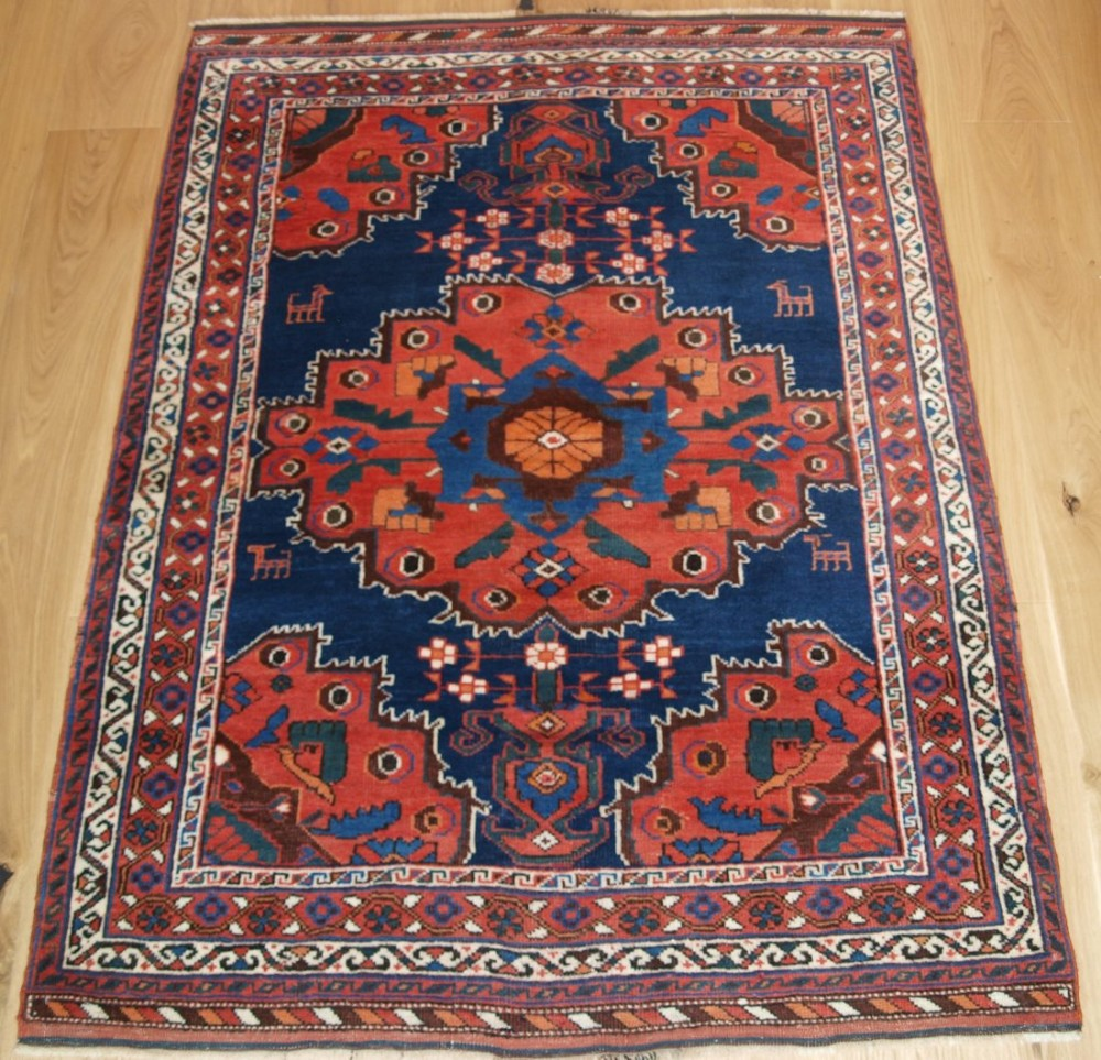 antique persian afshar rug with vase design and animals superb colour condition circa 1900