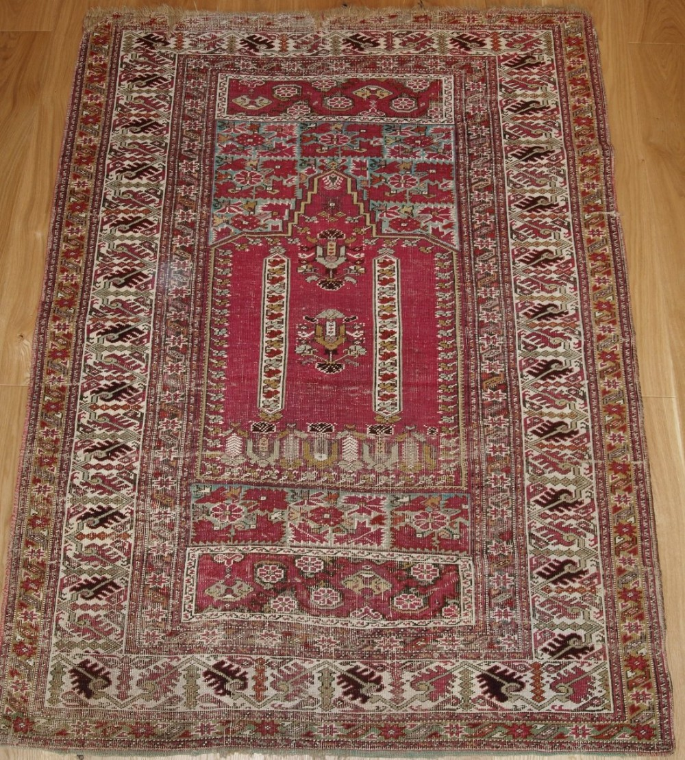 Prayer Rug Company: Antique Turkish Ghiordes Prayer Rug, Beautiful Colour, 2nd