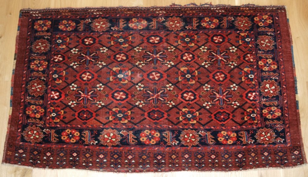 antique beshir turkmen chuval mina khani design with silk highlights circa 1880