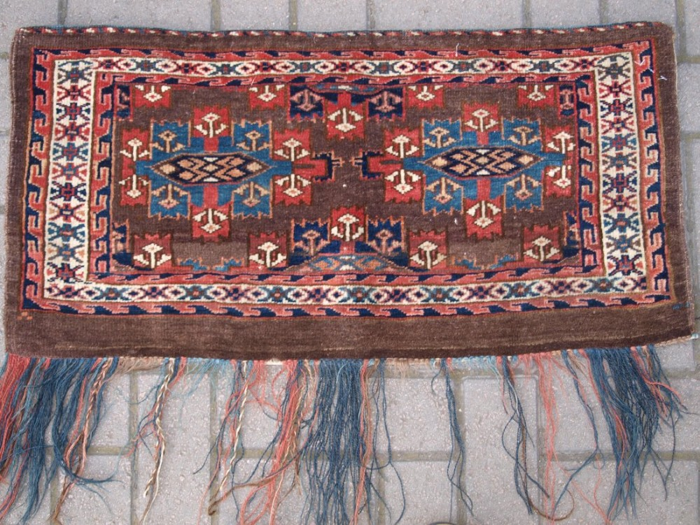 antique yomut turkmen torba with kepse gul design small size late 19th century