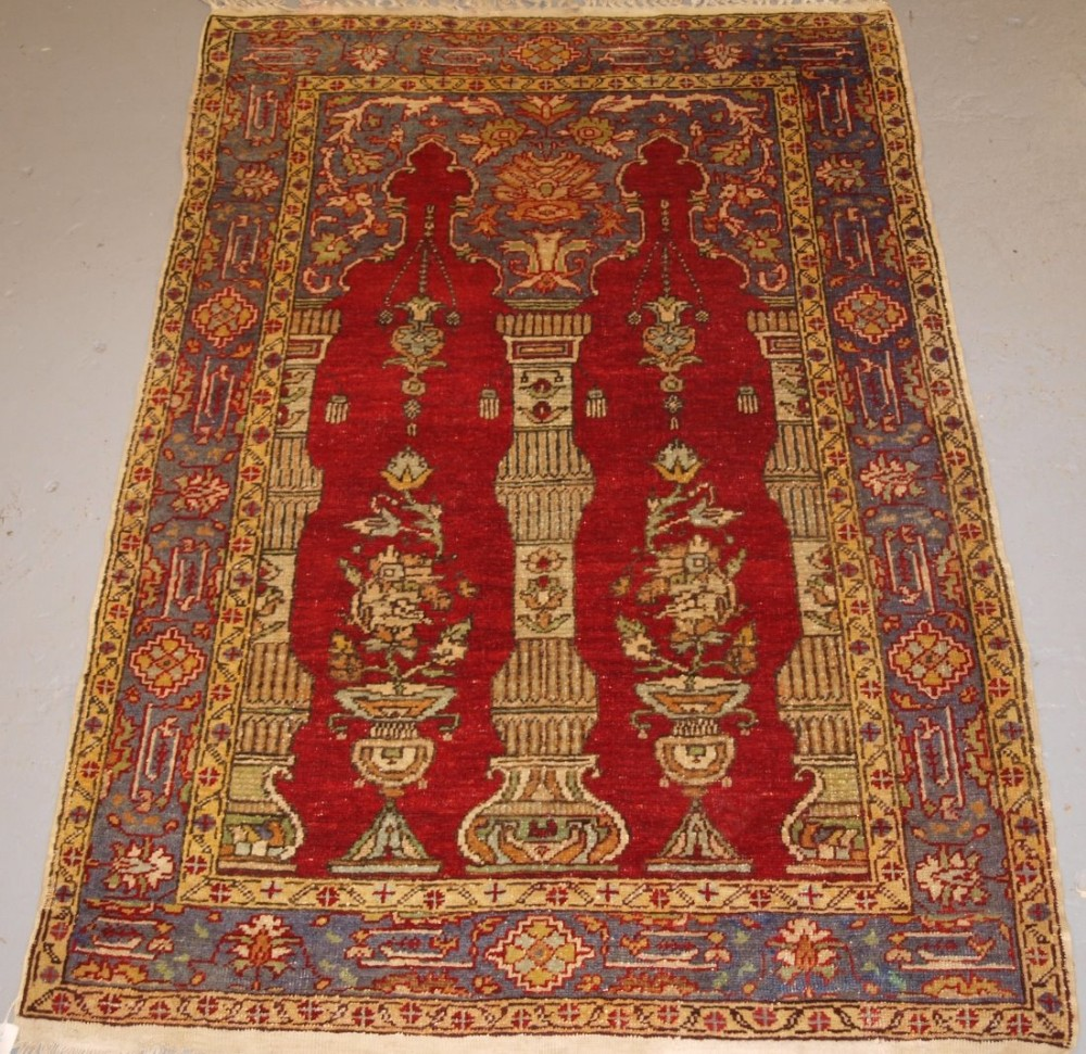 old turkish prayer rug of classic design excellent condition circa 1920