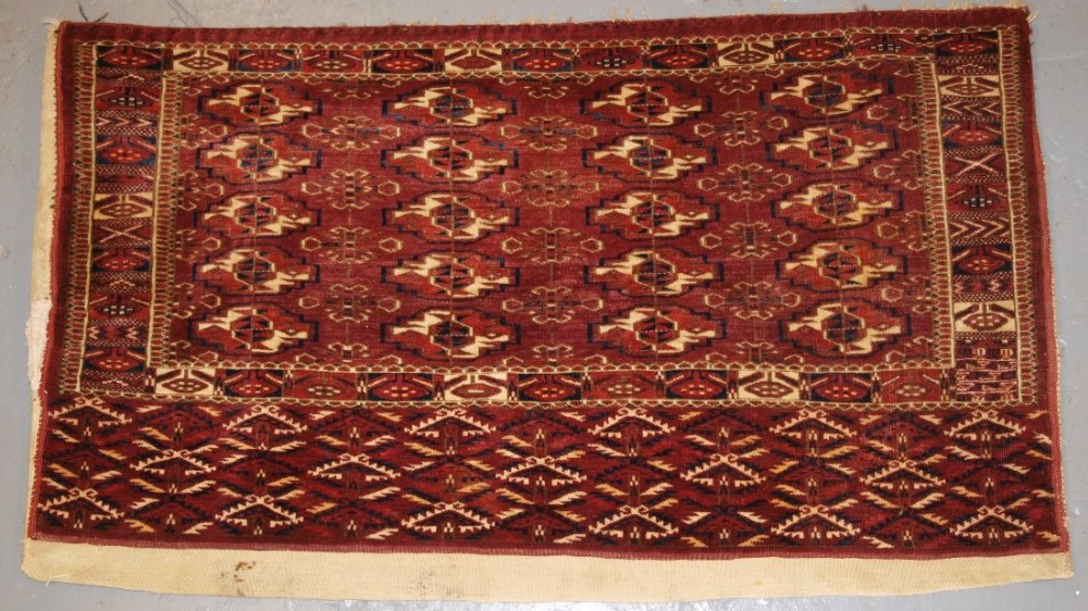 antique tekke turkmen chuval very fine weave plain weave back circa 1900