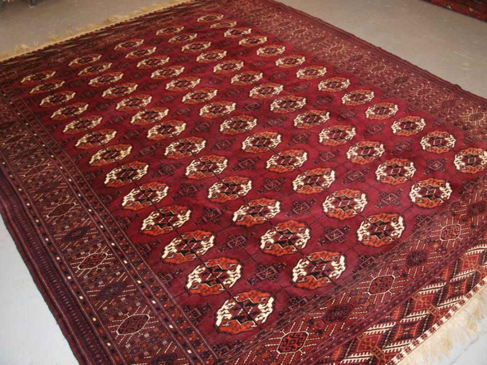 antique tekke turkmen main carpet with superb rich colour and outstanding condition circa 1900