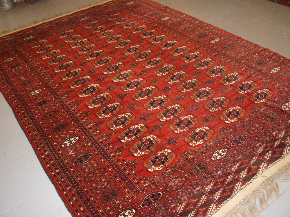 antique tekke turkmen main carpet full pile soft wool circa 1900