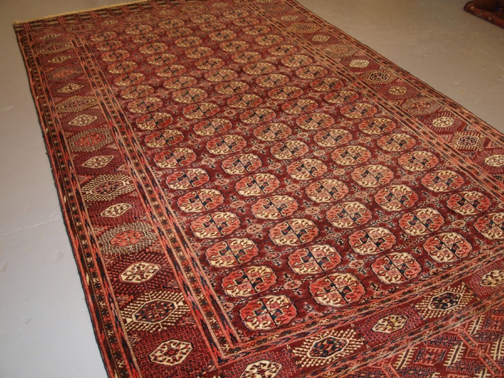 antique tekke turkmen carpet of unusual large size good colour circa 1900