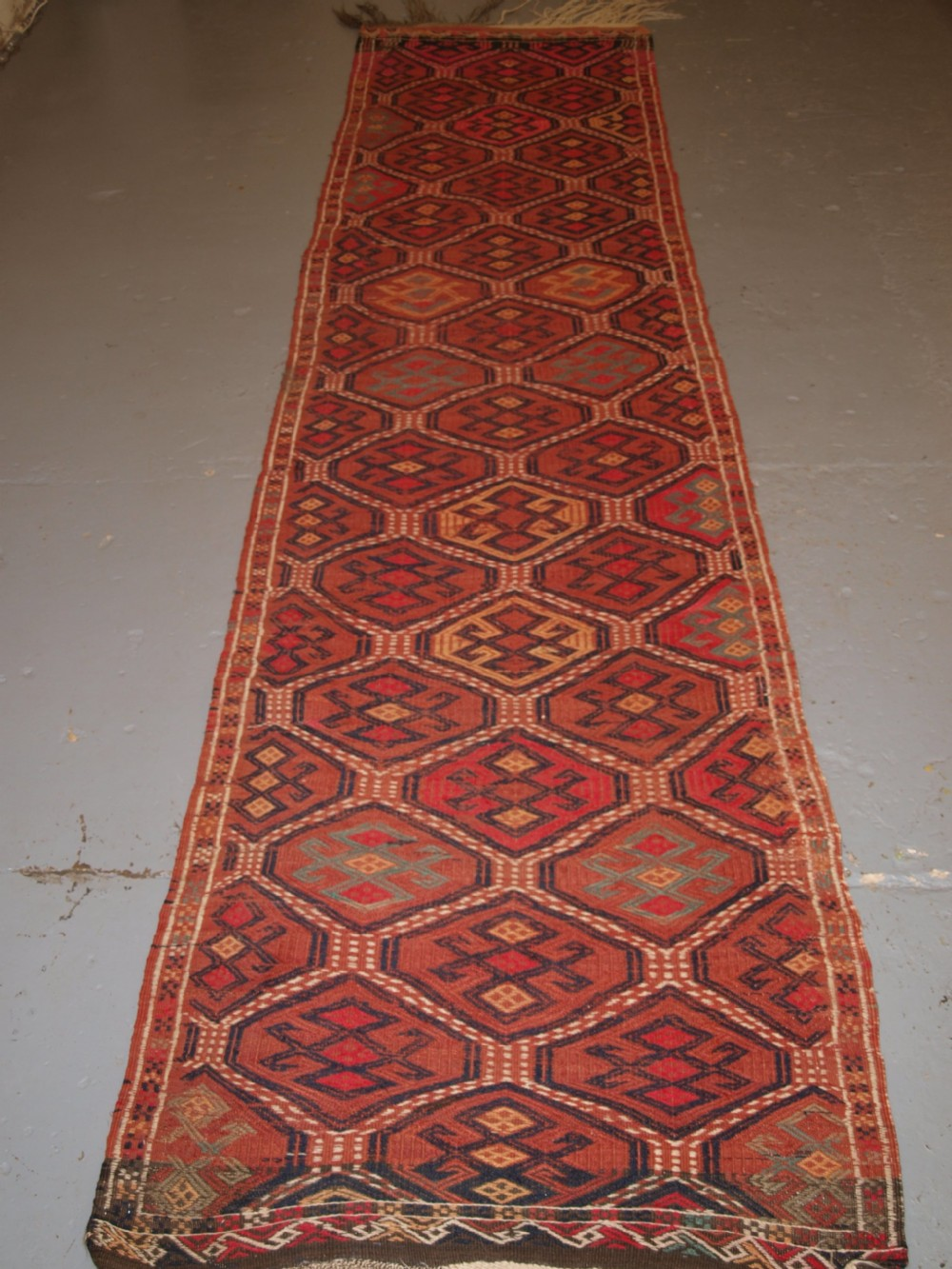 old uzbek or afghan embroidered flat weave runner good colours circa 1920