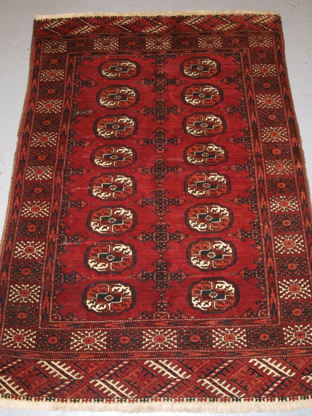 old afghan rug of small size with tekke turkmen design hard wearing circa 1920
