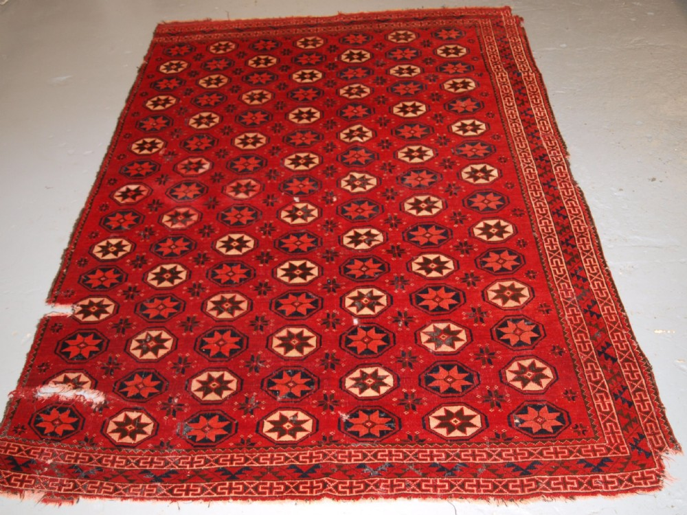 antique ersari turkmen main carpet fragment unusual star design 2nd half 19th century