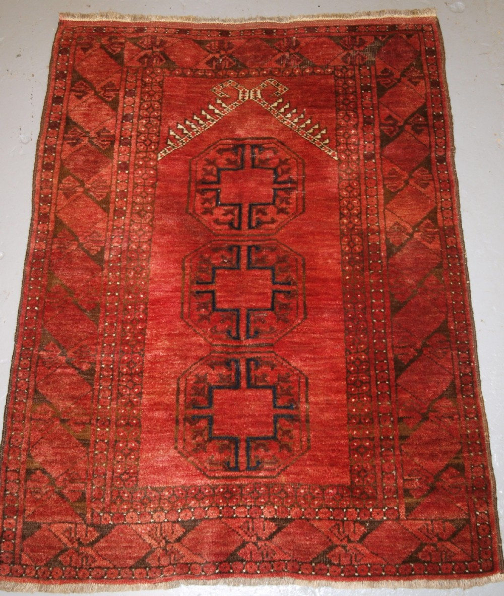 old afghan village prayer rug with turkmen design rams horn mihrab circa 1920