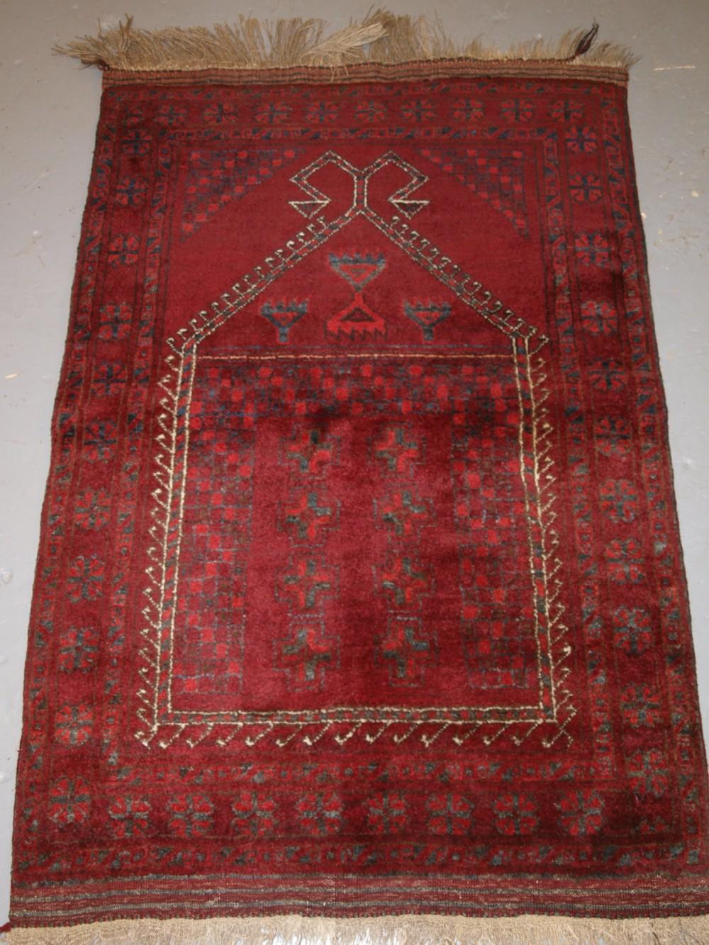 afghan village prayer rug with rams horn mihrab circa 1920