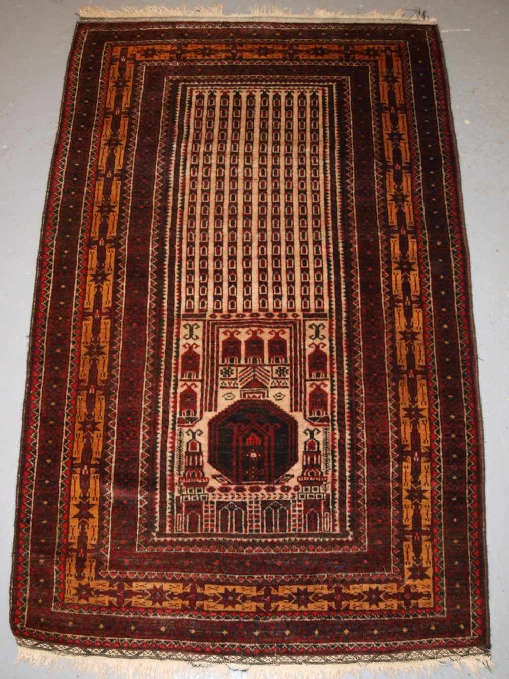 old afghan kizil ayak mosque prayer rug unusual design circa 1920