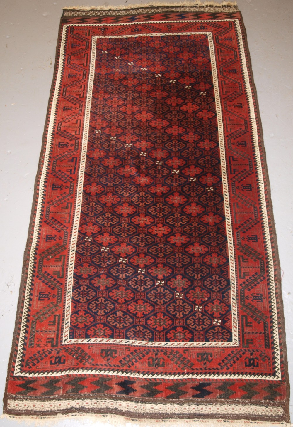 antique baluch rug khorassan region eastern persia snowflake lattice design 4th quarter 19th century
