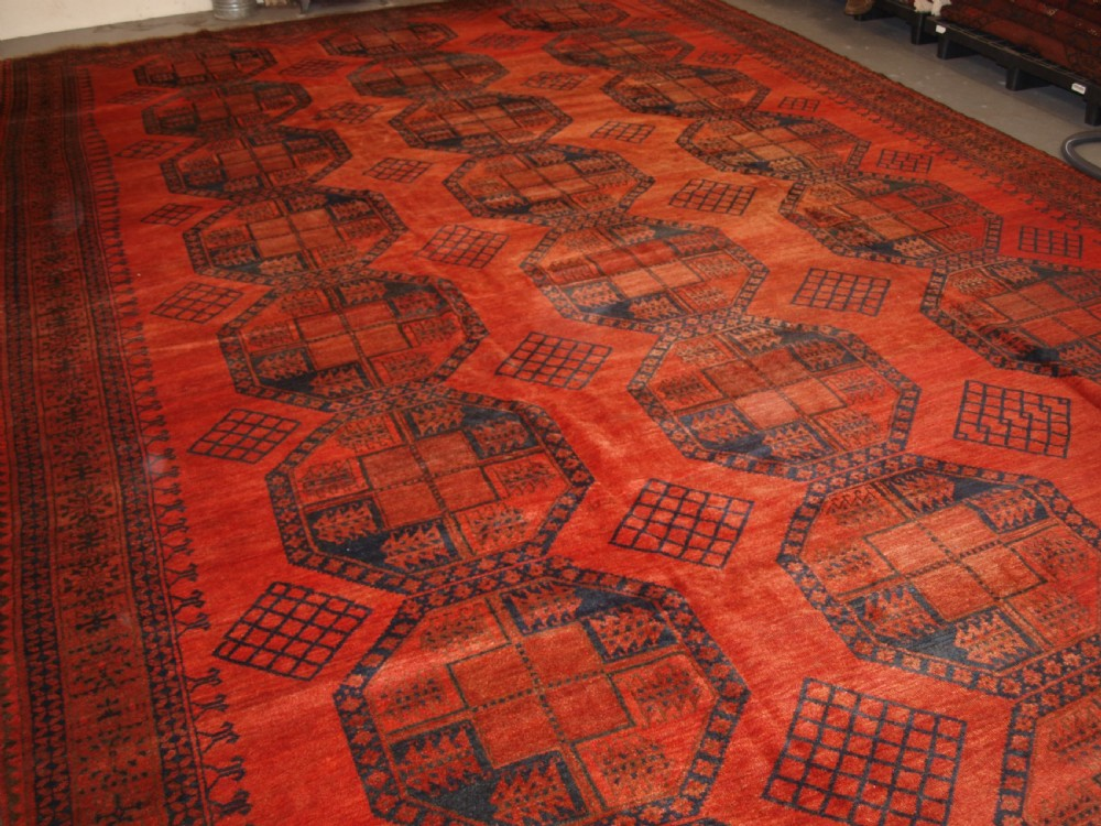 antique afghan sulayman ersari carpet of very large size with exceptional colour circa 1900