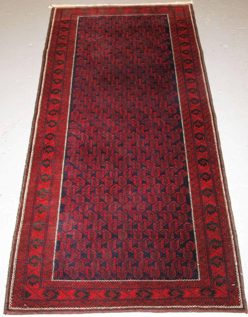 old afghan baluch rug very fine weave repeat botheh design circa 1950