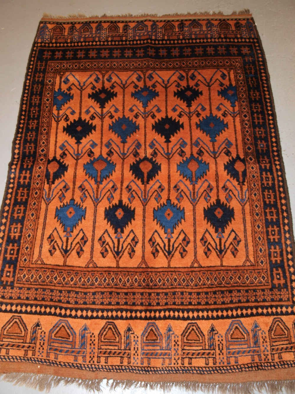 old afghan village rug of scarce camel and poppy design superb rug circa 1920