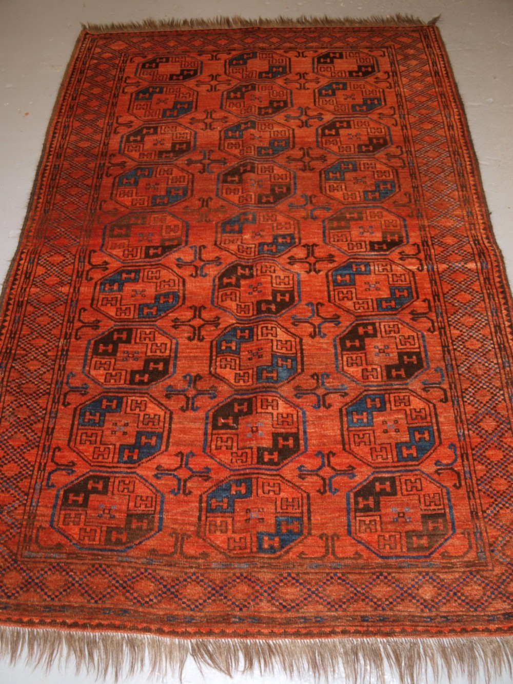 antique afghan ersari turkmen rug northern afghanistan superb colour circa 1900