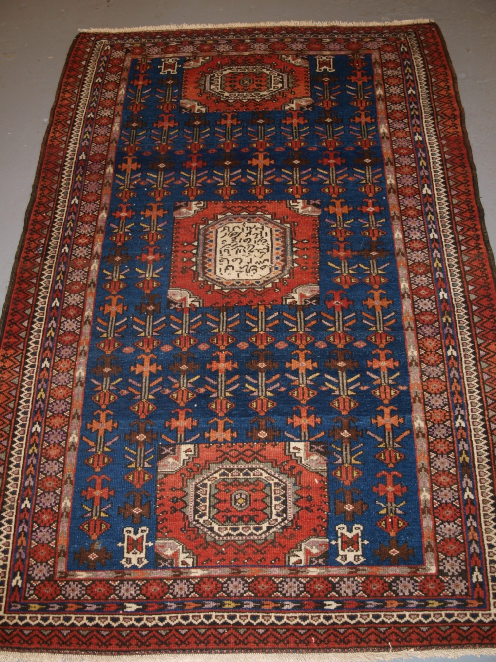 old north west persian kurdish rug unusual design large inscription with date circa 190020