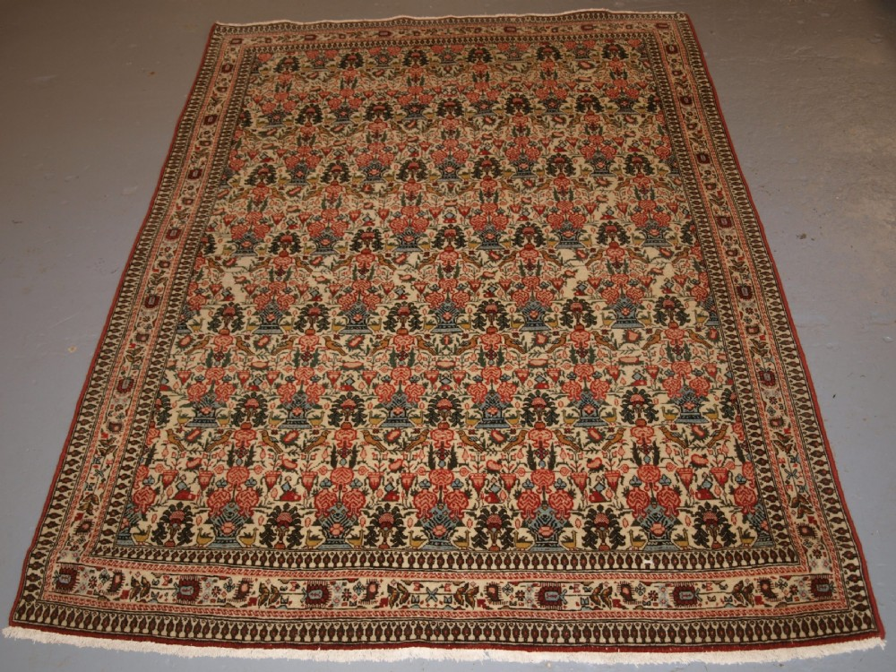 old persian qum rug very soft colours and fine weave circa 1920