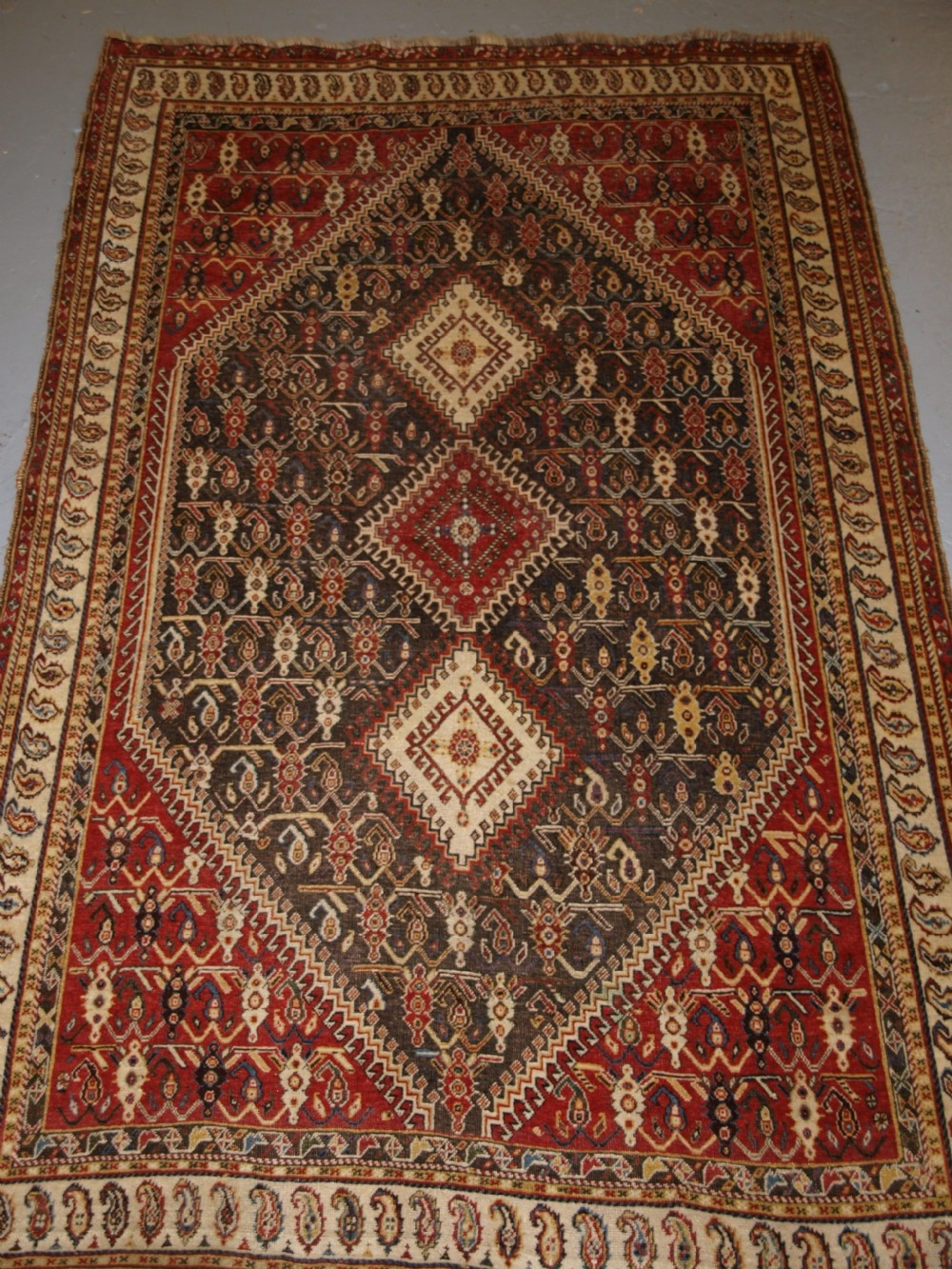 antique south west persian tribal qashqai rug triple medallion circa 1880