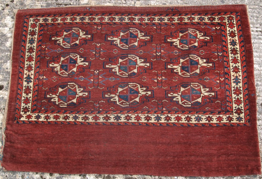 antique yomut turkmen 9 gul chuval early example with great colour early 19th century